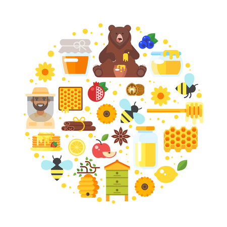 Vector flat style round composition of honey and apiary icons. Isolated on white background.