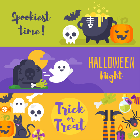 Flat style template for Halloween banner with holiday symbols. Illustration