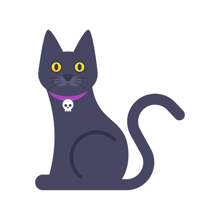 silueta de gato: Vector flat illustration of Halloween cat isolated on white background.