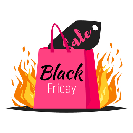 Vector style web black friday banner template design with colorful shopping bags and sale label in fire on white background Illustration