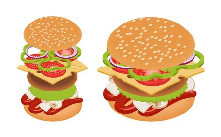 Vector isometric burger. Tasty snack. Illustration