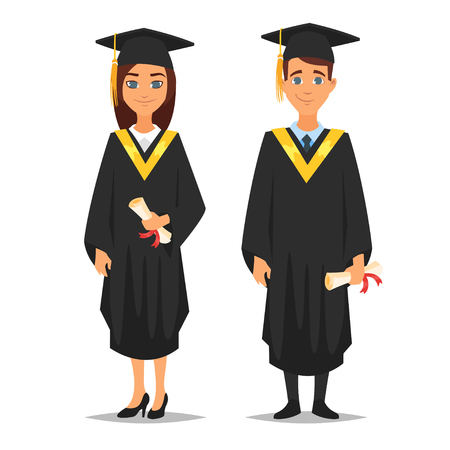 Vector cartoon style characters young proud man and woman graduates, isolated on white background Ilustrace