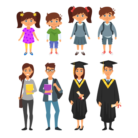 niños platicando: Vector cartoon style  set of education cute characters: kindergartens, pupils, students; graduates, isolated on white background Vectores