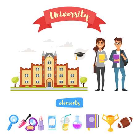Vector cartoon style set of university icon, building and characters cute boy an girl isolated on white background