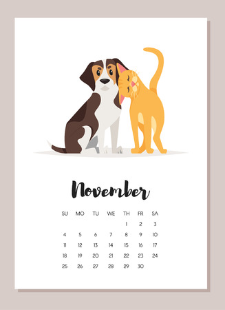 Vector cartoon style illustration of november dog 2018 year calendar. Isolated on white background. Template for print.