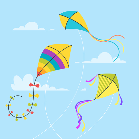 Vector cartoon style set of kites in the sky with clouds. Isolated on blue background. Stock Illustratie