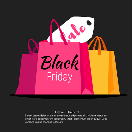 Vector style web black friday banner template design with colorful shopping bags and sale lable on black background Illustration