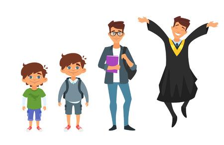 niños platicando: Vector de dibujos animados estilo carácter jardín de infantes, colegial, estudiante, hombre graduado, aislado sobre fondo blanco