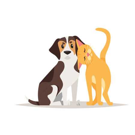 Vector cartoon style illustration of cute cat and beagle dog friendship, isolated on white background. Ilustracja