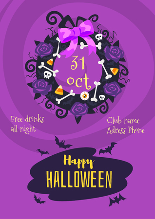 Vector Cartoon Style Halloween Poster Design Template With Holiday