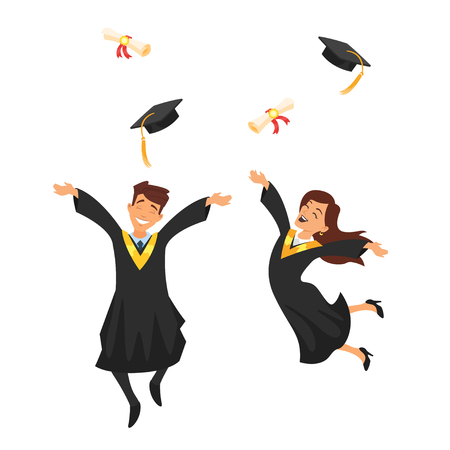 Vector cartoon style characters young graduates man and woman jump from happiness, isolated on white background Illustration