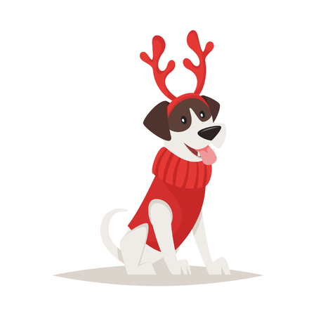Vector cartoon style illustration of cute dog with deer Christmas horns.Isolated on white background. Illustration