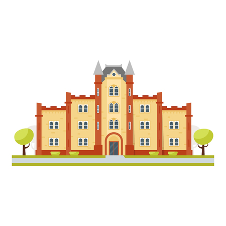 Vector cartoon style illustration of educational building university, isolated on white background