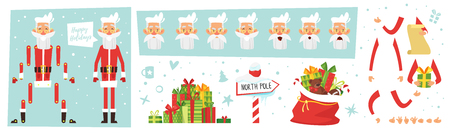 Cartoon style set skinny Santa Claus for animation with Christmas and New Year symbols.