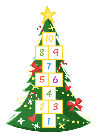 Cartoon style illustration of kids New Year hopscotch game with Christmas pine tree template.