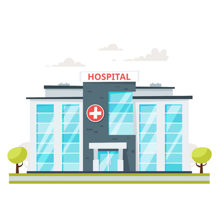 Cartoon style illustration of medical hospital building.