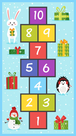 Cartoon style illustration of kids New Year Hopscotch game with Christmas holiday symbols template.