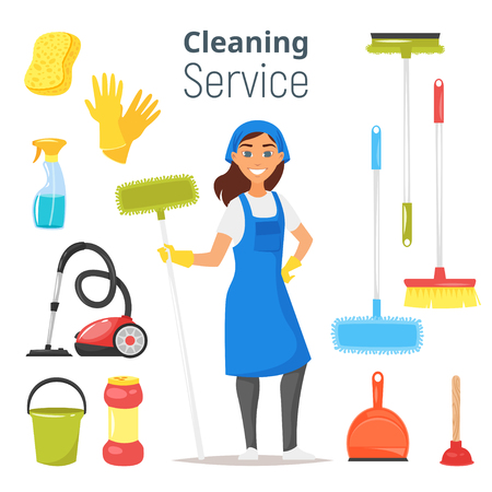 Vector cartoon style illustration of cleaning service woman character. Housekeeping icons. Isolated on white background. Ilustrace