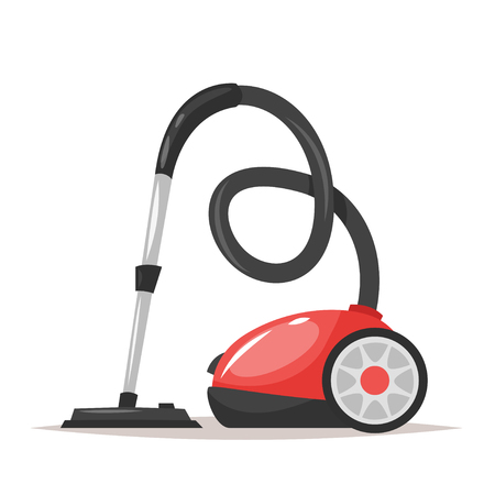 Vector cartoon style illustration of a vacuum cleaner. Isolated on white background.