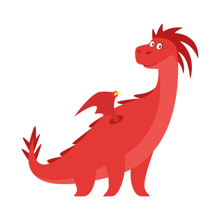 Vector cartoon style illustration of cute red dragon isolated on white background. Illustration