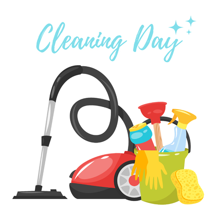 Vector cartoon style illustration of cleaning service tools banner. Housekeeping icons. Isolated on white background. Illustration