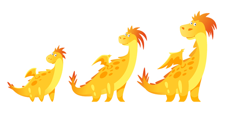 Vector cartoon style illustration of cute yellow dragon isolated on white background. Stages of growth