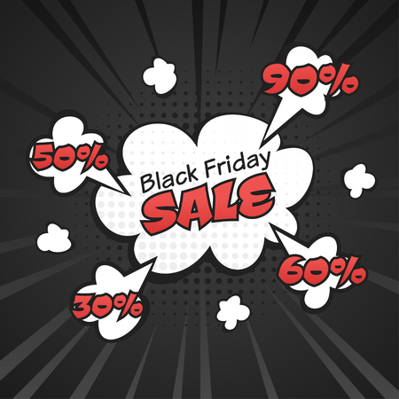 Vector hand drawn pop art illustration of black friday sale banner with white cloud. Retro style. Hand drawn sign. Illustration for print, web.