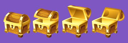 보물 상자 애니메이션의 벡터 만화 스타일 그림. 열기 및 닫기 골동품 상자입니다. 흰색 배경에 고립. 비디오 게임, 컴퓨터 또는 웹 디자인을위한 게임 사용자 인터페이스 (GUI) 요소.