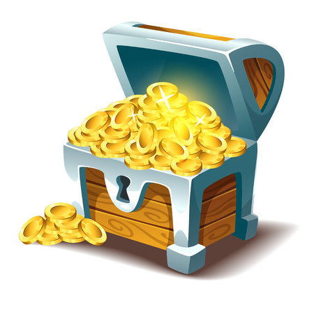 Vector cartoon style illustration of open treasure chest with gold. Isolated on white background. Game user interface (GUI) element for video games, computer or web design.