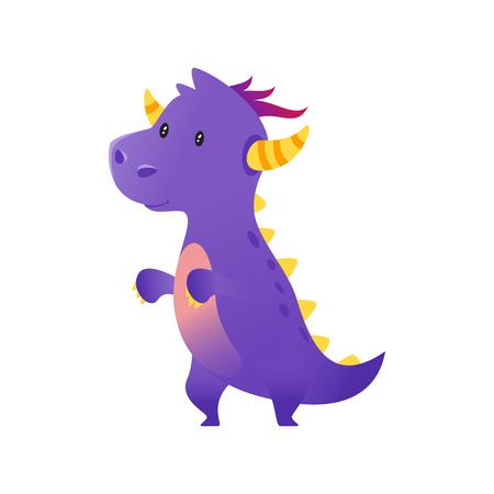 Vector cartoon style illustration of cute purple dragon isolated on white background. Illustration