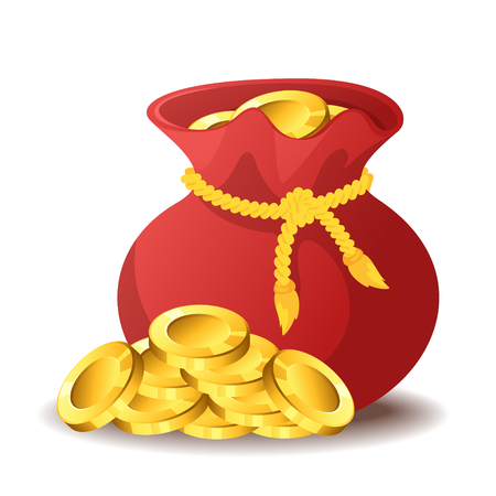 Vector cartoon style illustration of bag of gold. Isolated on white background. Game user interface (GUI) element for video games, computer. In-game currency. Vettoriali