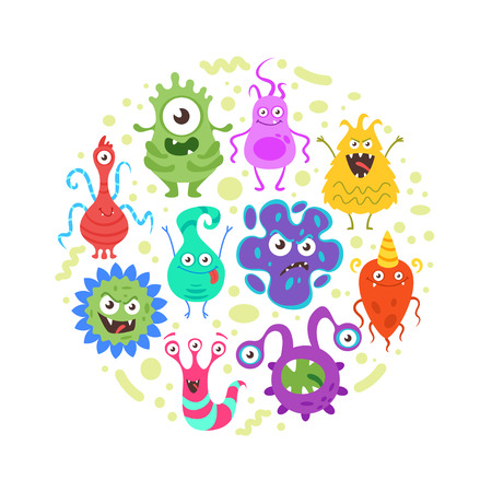 Vector cartoon style circle composition of colorful funny bacteria characters. Good and bad flora microbes. Isolated on white background. Vettoriali
