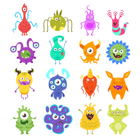 Vector cartoon style set of colorful funny bacteria characters. Bad and good flora microbes. Isolated on white background.