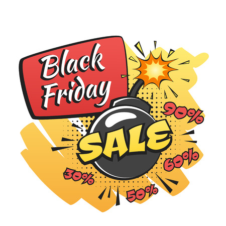 Vector hand drawn pop art illustration of black friday banner with funny bomb. Retro style. Hand drawn sign. Illustration for print, web.