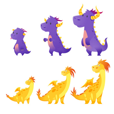 Vector cartoon style set of cute dragon isolated on white background. Stages of growth Illusztráció