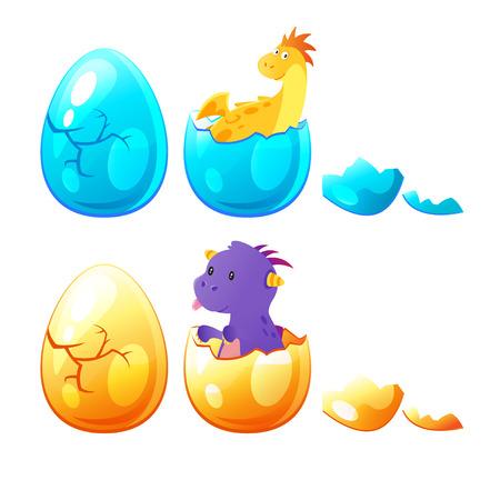 Vector cartoon stijlenset van kleine draak uit ei. Geïsoleerd op witte achtergrond