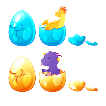 Vector cartoon style set of little dragon hatched from egg. Isolated on white background.