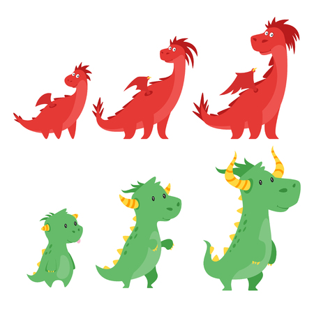 Vector cartoon style set of cute dragons isolated on white background. Stages of growth. Illustration