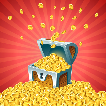 Vector cartoon style illustration of open treasure chest with falling golden coins on red background.