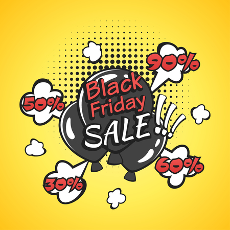 Vector hand drawn pop art illustration of black friday banner with black balloons. Retro style. Hand drawn sign. Illustration for print, web.