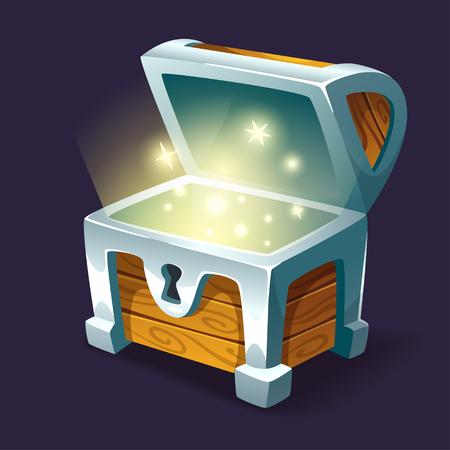 Vector la ilustración del estilo de la historieta del cofre del tesoro brillante abierto. Aislado en el fondo oscuro. Elemento de la interfaz de usuario del juego (GUI) para videojuegos, computadora o diseño web.