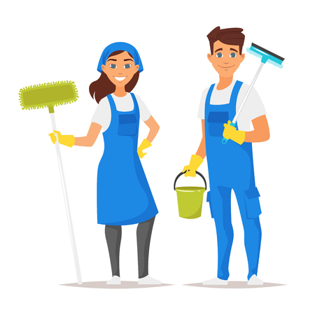 Vector cartoon style illustration of cleaning service man and woman character. Isolated on white background. Çizim