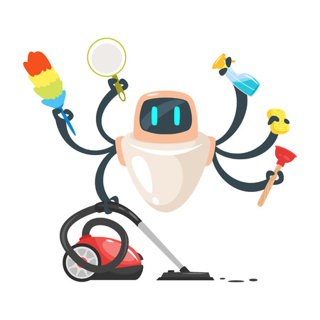 A Vector cartoon style illustration of assistant domestic cleaner robot isolated on white background.