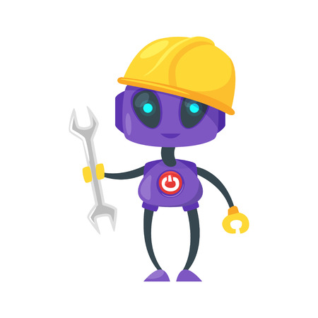 Vector cartoon style illustration  of engineer or worker robot isolated on white background. Isolated on white background. Illustration
