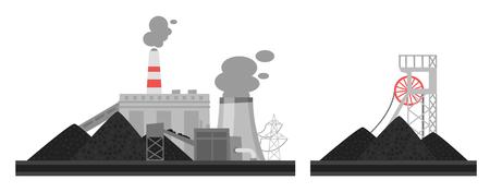 Vector cartoon illustration of coal plant. Environmental pollution concept.