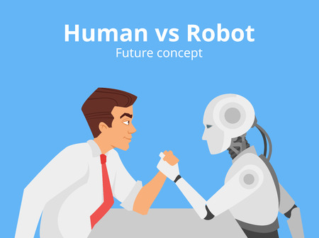 Vector cartoon style illustration of human businessman vs robot confrontation arm wrestling. Modern technology concept. Blue background.