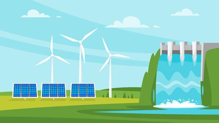 벡터 만화 스타일 그림 갱신 및 지속 가능한 에너지 소스 - 풍차와 태양 전지 패널. 환경 및 생태 개념입니다. 배경의 가로 조성입니다.