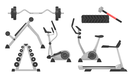 Vector cartoon style set of fitness equipment for exercises.