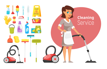 Vector cartoon style illustration of cleaning service woman and stuff. Woman household character vacuuming the floor.