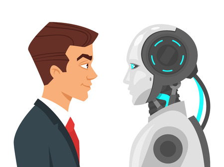 Vector cartoon style illustration of human businessman and robot standing in front of each other and looking into the eyes. Modern technology concept. Ilustrace